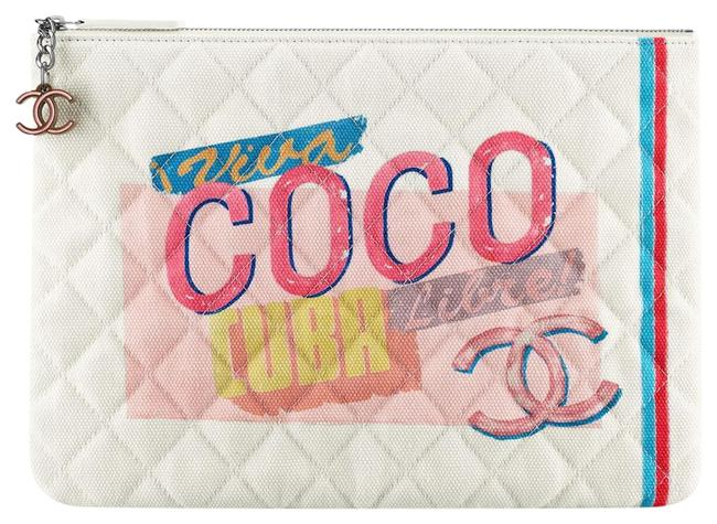 Item - Coco Cuba Quilted Logo Red O Case Logo Pouch White Canvas Clutch