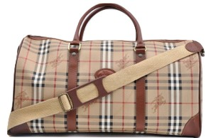 Burberry Boston Duffle Keepall Bandouliere Gym Brown Travel Bag