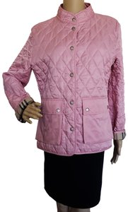 Burberry Quilted Belted Silver Hardware House Check Nova Check Pink Jacket