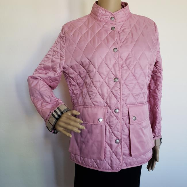 Burberry Quilted Belted Silver Hardware House Check Nova Check Pink Jacket Image 1