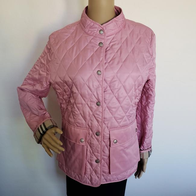 Burberry Quilted Belted Silver Hardware House Check Nova Check Pink Jacket Image 3