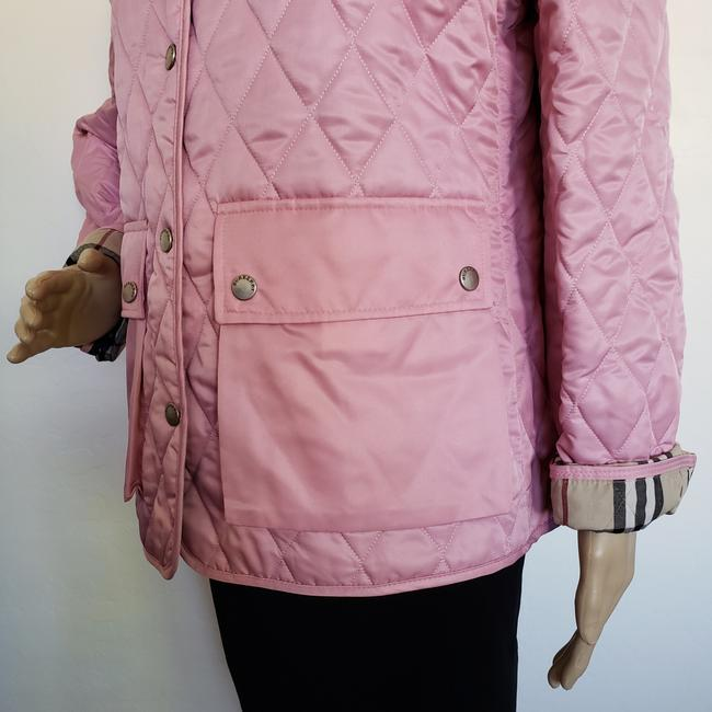 Burberry Quilted Belted Silver Hardware House Check Nova Check Pink Jacket Image 5