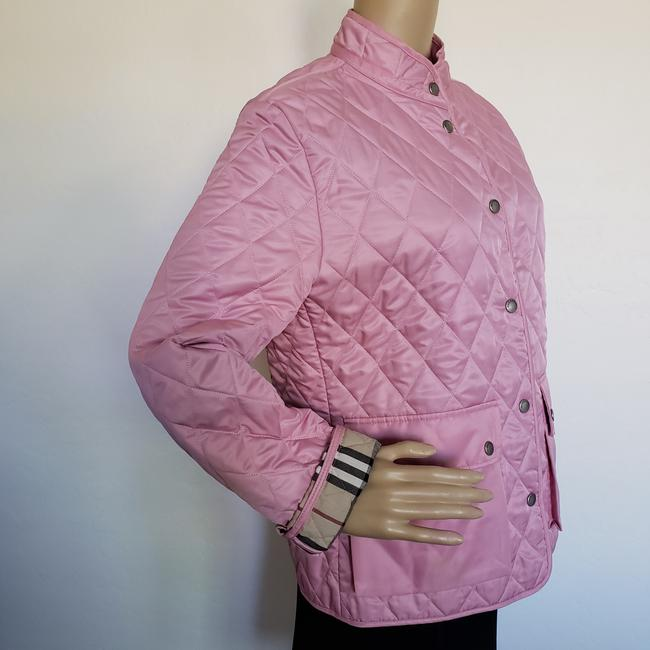 Burberry Quilted Belted Silver Hardware House Check Nova Check Pink Jacket Image 6
