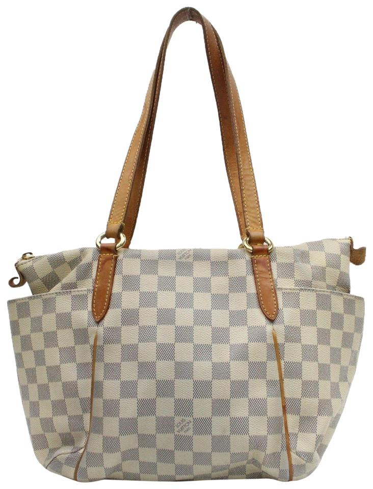 72dc553dae8d Louis Vuitton Totally Damier Azur Pm Zip 868451 White Coated Canvas Tote
