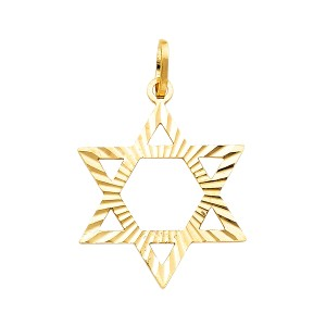 Top Gold & Diamond Jewelry 14k Yellow Gold Star David Pendant
