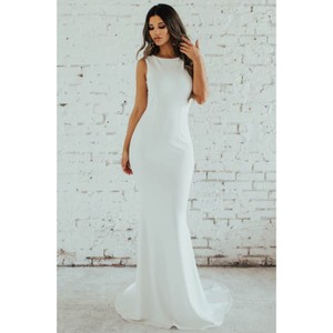 Katie May Ivory Crepe Theo Low Back Mermaid Gown Modest Wedding Dress Size 2 (XS)