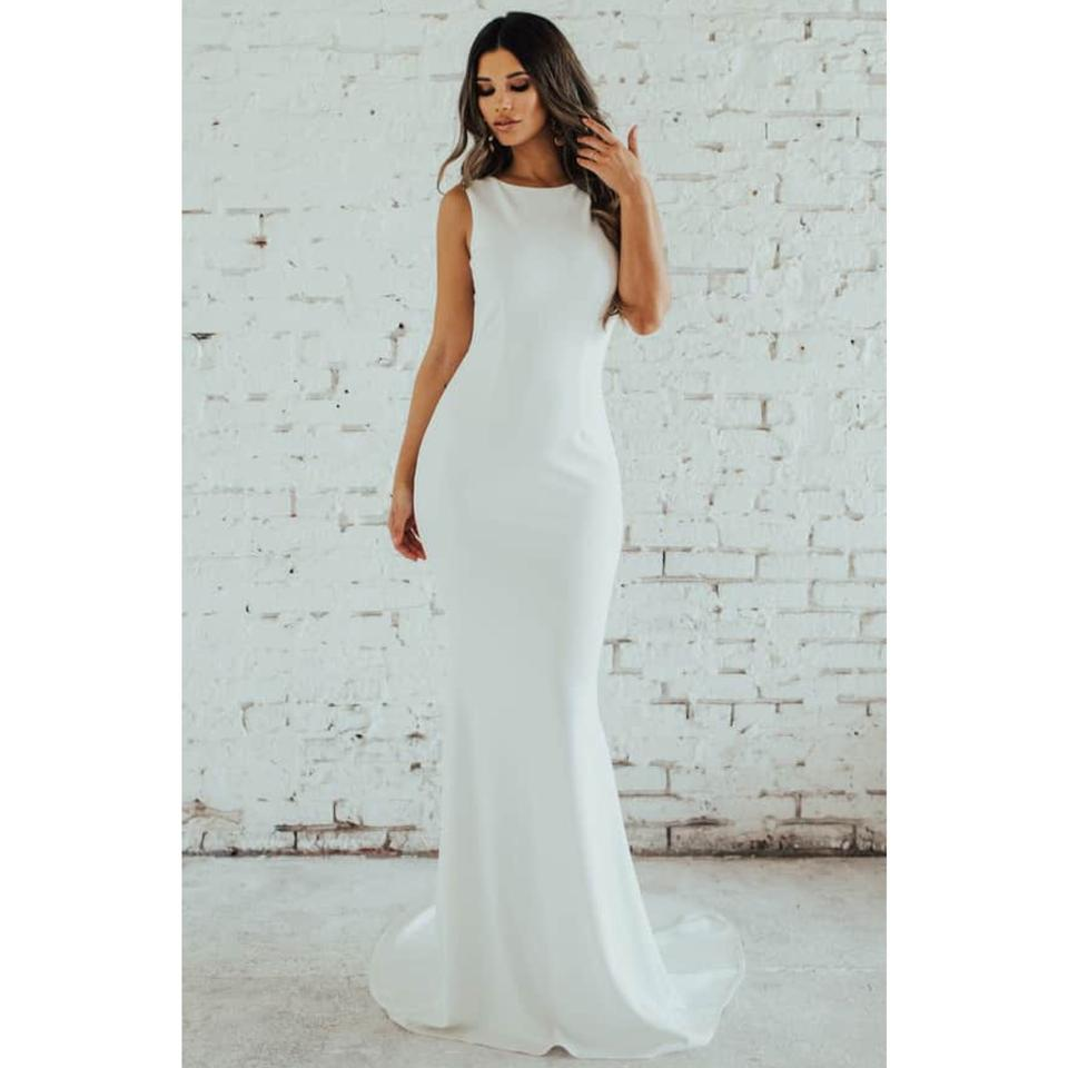 c0787adaf0379 Ivory Crepe Theo Low Back Mermaid Gown Modest Wedding Dress Size 2 (XS)  Image ...