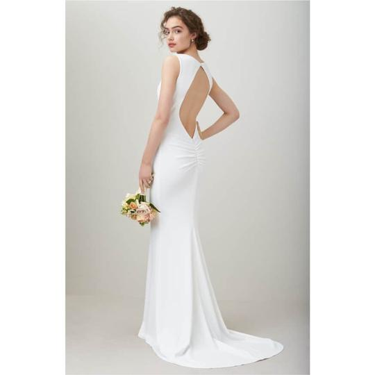 Ivory Crepe Theo Low Back Mermaid Gown Modest Wedding Dress Size 2 (XS)