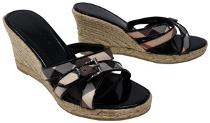 Burberry Patent Leather Nova Check Silver Hardware House Check Monogram Black Sandals