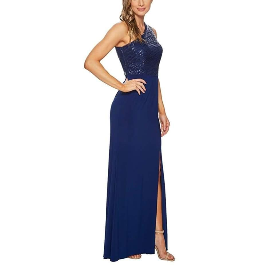 Adrianna Papell Blue Violet One Shoulder Sequin Bodice Gown Long Formal  Dress Size 4 (S)