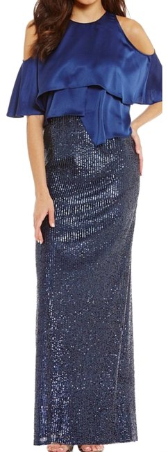 Preload https://img-static.tradesy.com/item/24261893/aidan-mattox-navy-blue-sequin-gown-with-satin-popover-long-formal-dress-size-8-m-0-2-650-650.jpg