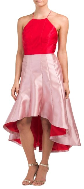 Preload https://img-static.tradesy.com/item/24261908/phoebe-couture-cherry-pink-halter-colorblock-hi-lo-mid-length-formal-dress-size-10-m-0-1-650-650.jpg