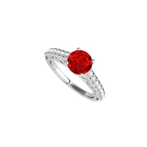 DesignerByVeronica Prong Set Ruby CZ Engagement Ring in 14K White Gold