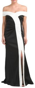Kay Unger Couture Stretchy Front Flap Plunge Dress