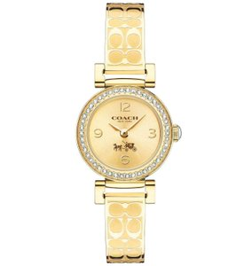 Coach Coach Women's Signature Etched Gold Bangle Bracelet Watch 24mm