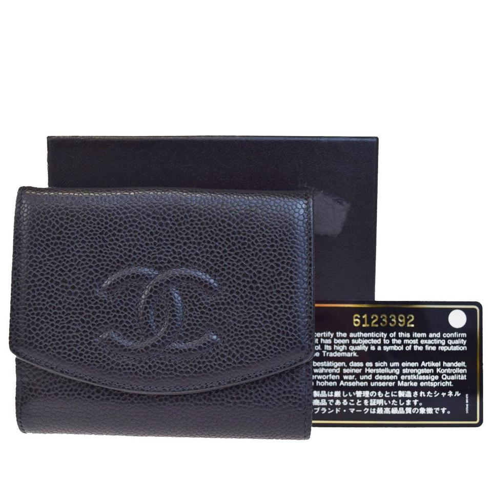 3baa331b5d52d1 Chanel CHANEL CC Logos Bifold Wallet Purse Caviar Skin Leather Black Image  0 ...