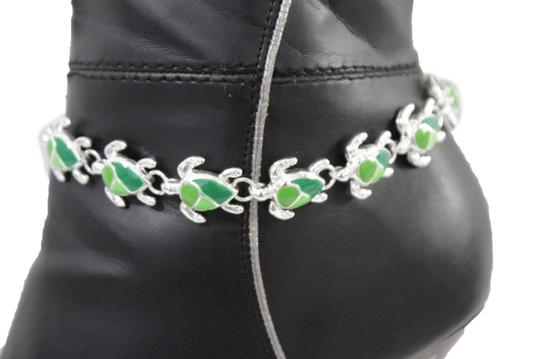 Alwaystyle4you Women Silver Boot Chain Anklet Bracelet Shoe Bling Mini Turtle Charm Image 10