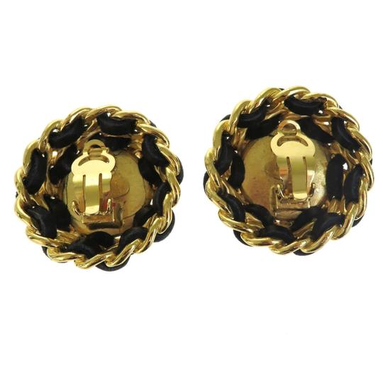 Chanel CHANEL CC Earrings Imitation Pearl Leather Gold-tone Image 4