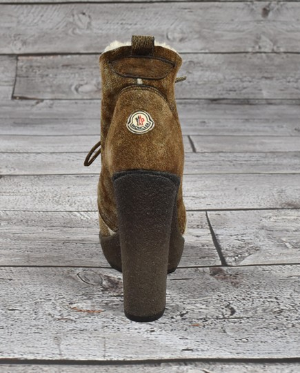 Moncler Leather Platforn Shearling Brown Boots Image 2