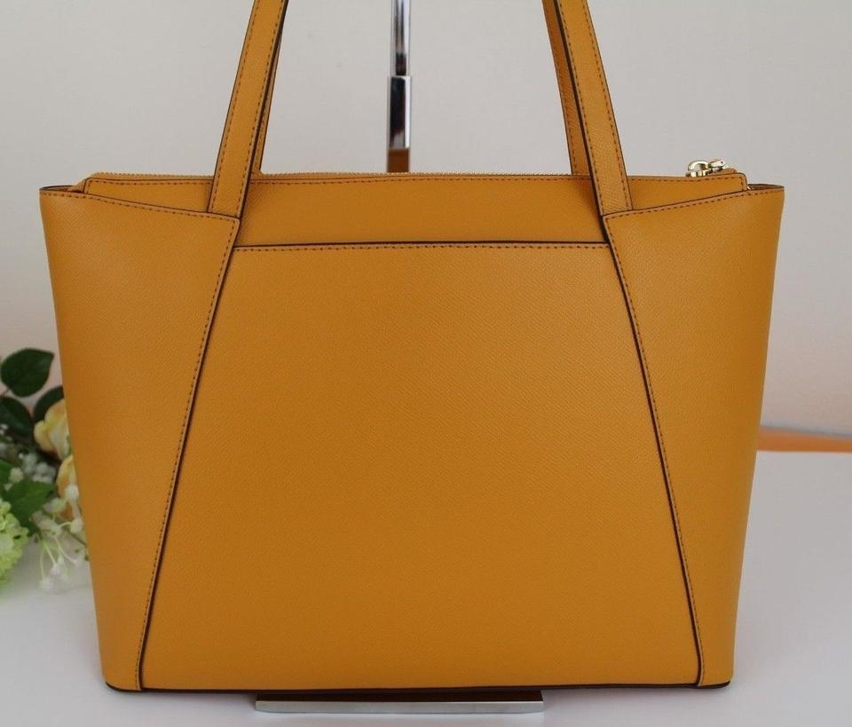 c75c75dc7cd2 Michael Kors Maddie Medium East West Marigold Yellow Leather Tote - Tradesy