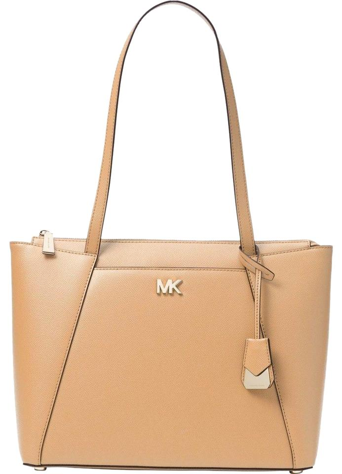 ac4580f83529 Michael Kors East West Maddie Medium Butternut Beige Leather Tote ...
