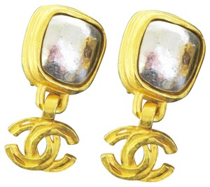 Chanel CHANEL CC Logos Earrings Gold-tone Silver Plated Clip