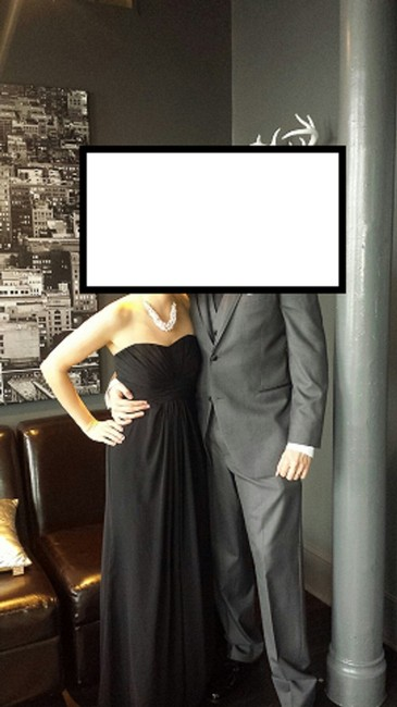 Item - Black Chiffon F15555 Long Strapless and Pleated Bodice Formal Bridesmaid/Mob Dress Size 4 (S)