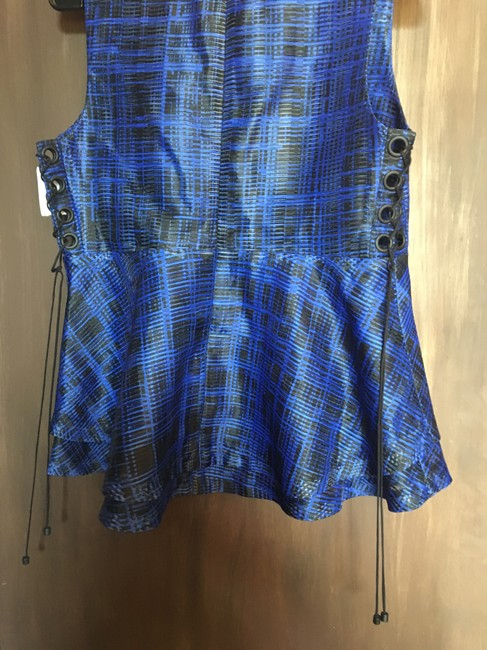 Kendall + Kylie Peplum Lace Up Top Black & Blue Image 1