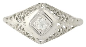 Other Art Deco Diamond Engagement Ring - 18k Gold Transitional N7055
