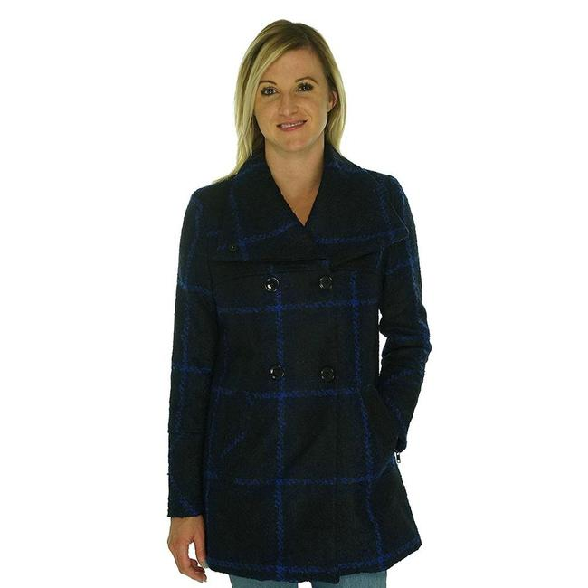 Maralyn & Me Double Breasted Cold Weather Peacoat Plaid Coat Image 2