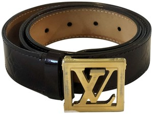 Louis Vuitton Louis Vuitton Red Amarante Vernis Monogram Leather LV Frame Belt