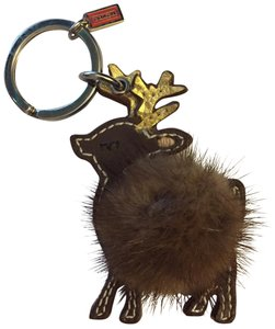 Coach leather mink deer keychain