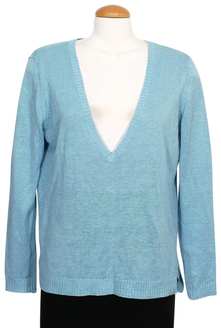 Preload https://img-static.tradesy.com/item/24262745/eileen-fisher-fine-organic-linen-deep-v-s-sky-blue-sweater-0-3-650-650.jpg