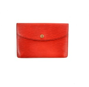 Louis Vuitton Homme Leather Epi Red Clutch
