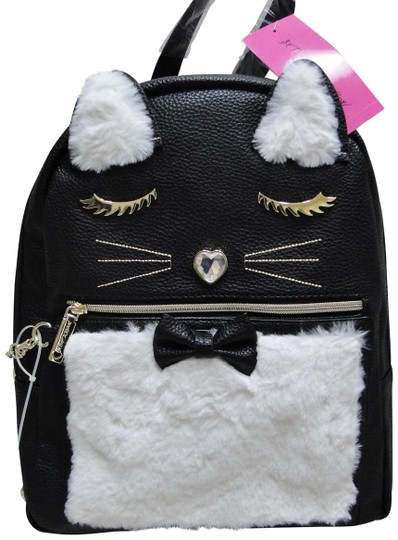 Preload https://img-static.tradesy.com/item/24263044/betsey-johnson-kitsch-black-cream-faux-leather-backpack-0-3-540-540.jpg
