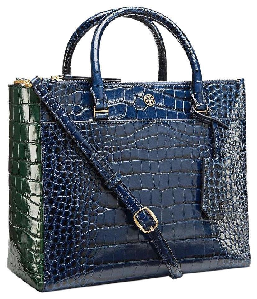 549d7b4ede6 Tory Burch Parker Embossed Blue Leather Satchel - Tradesy
