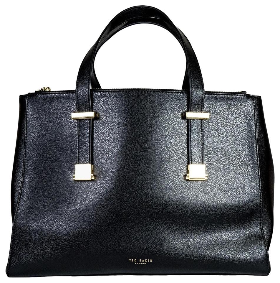 Ted Baker Luxury Leather Classic Gold Hardware Tote In Black