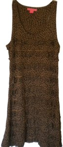 Black/Brown Maxi Dress by Charlotte Tarantola Ruffle Sleeveless Leopard Pattern