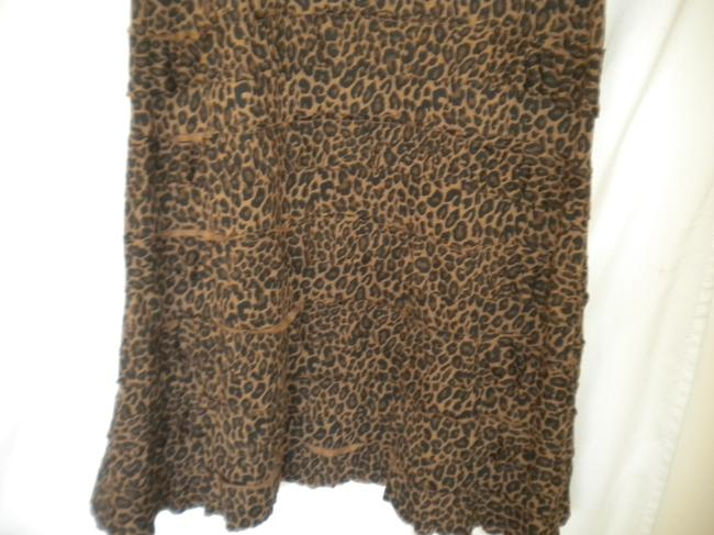 Black/Brown Maxi Dress by Charlotte Tarantola Ruffle Sleeveless Leopard Pattern Image 2