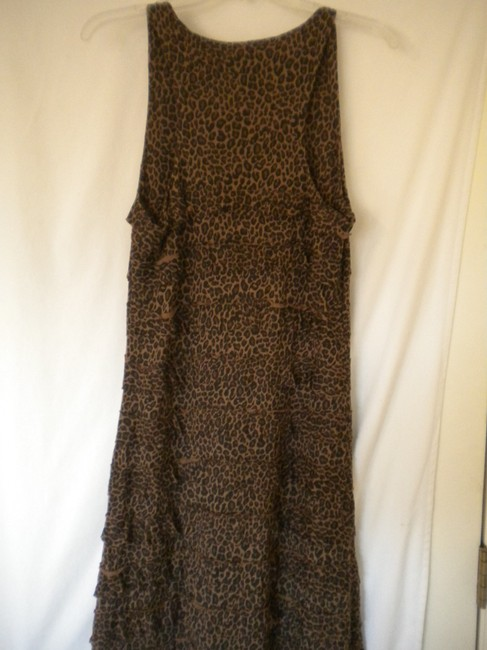 Black/Brown Maxi Dress by Charlotte Tarantola Ruffle Sleeveless Leopard Pattern Image 3