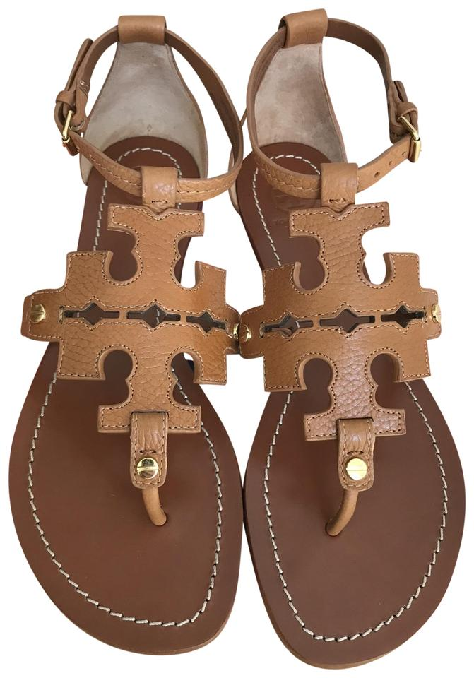 add4b29b2a194 Tory Burch Brown Elba Tumbled Leather Flat Thong Sandals Size US ...