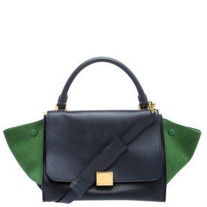 Céline Leather Suede Signature Tote in Black