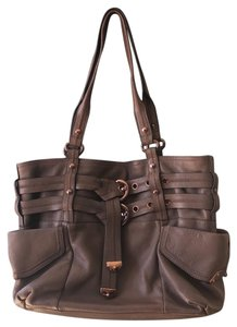B. Makowsky Tote in taupe & rose gold embellishments