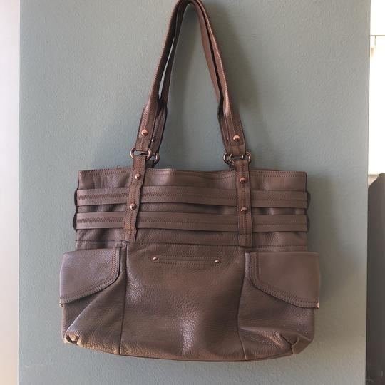 B. Makowsky Tote in taupe & rose gold embellishments Image 6