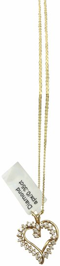 other 14K yellow gold pendant and chain, diamond heart necklace Image 0