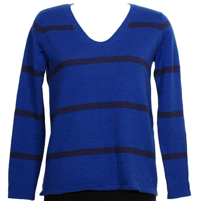 Preload https://img-static.tradesy.com/item/24263359/eileen-fisher-stripe-merino-wool-jersey-v-neck-deep-sky-blue-sweater-0-0-650-650.jpg