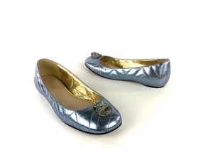 Gucci Sparkly Metallic Quilted Leather Icy Blue Flats