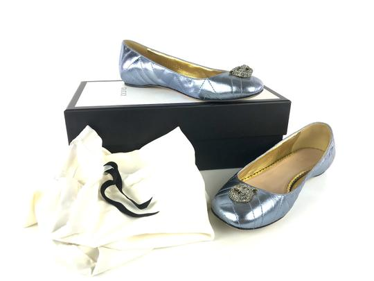 Gucci Sparkly Metallic Quilted Leather Icy Blue Flats Image 2