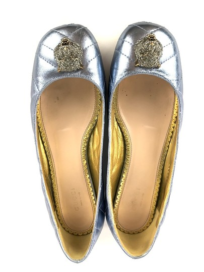 Gucci Sparkly Metallic Quilted Leather Icy Blue Flats Image 3