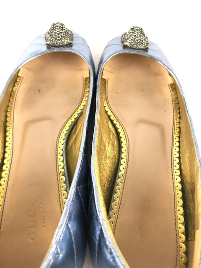 Gucci Sparkly Metallic Quilted Leather Icy Blue Flats Image 4